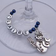Snowman With Broom Personalised Wine Glass Charm